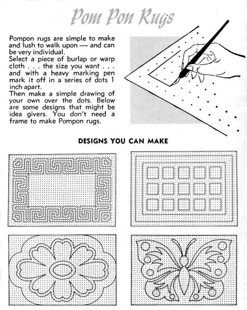 How to Make Pom Pon Rugs - Vintage Crafts and More