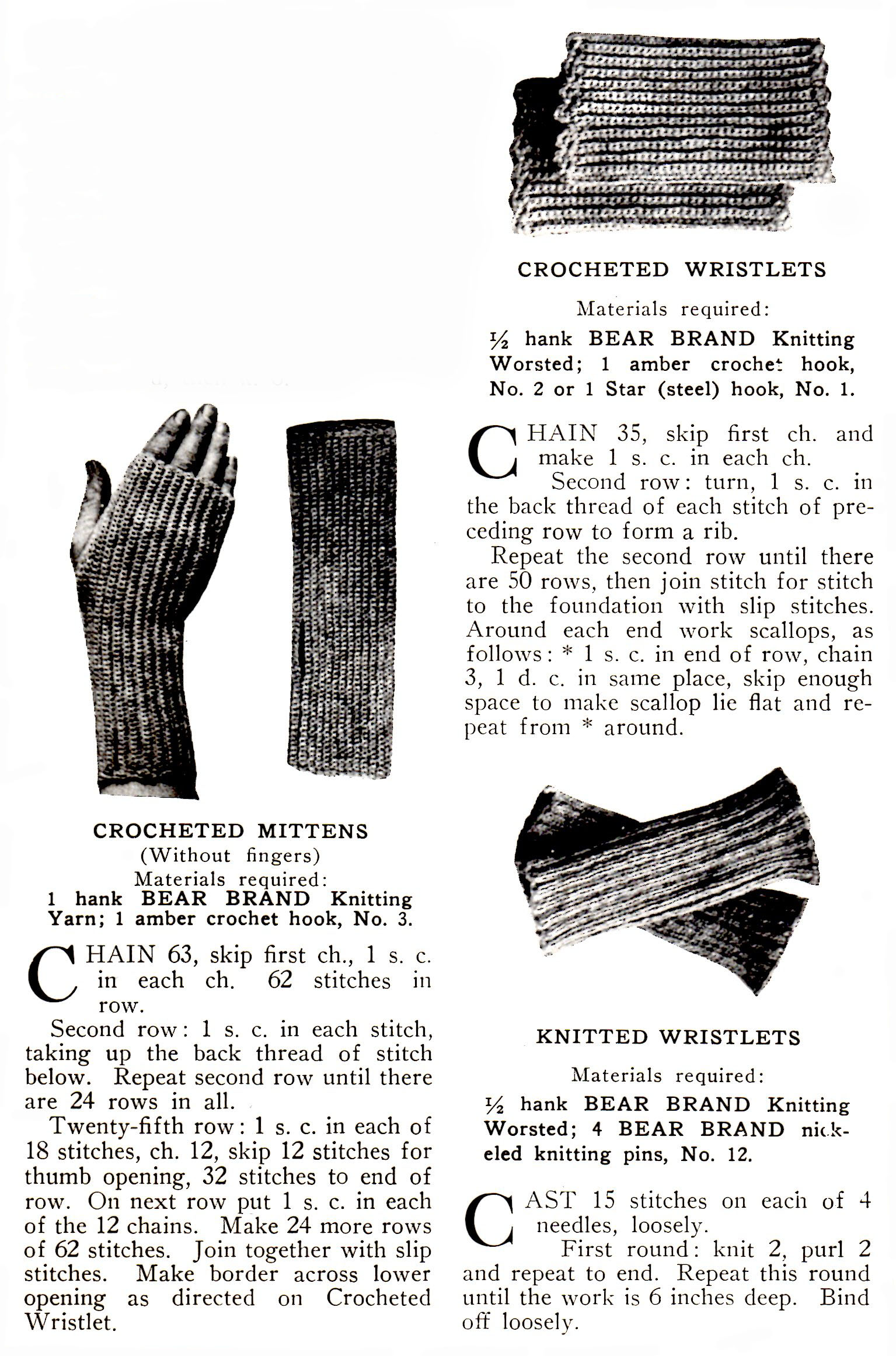 Fingerless Mitts and Wristlets Crochet and Knitting Patterns ...