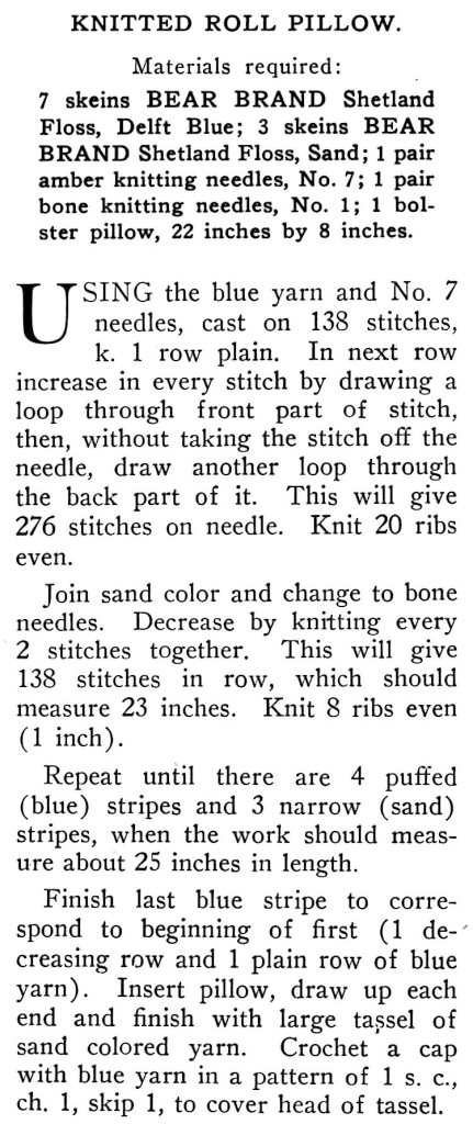 Knitted Neck Roll Pillow Pattern Instructions - Vintage Crafts and More