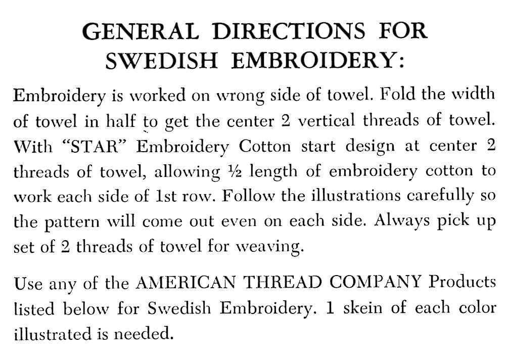 Swedish Embroidery General Directions - Vintage Crafts and More