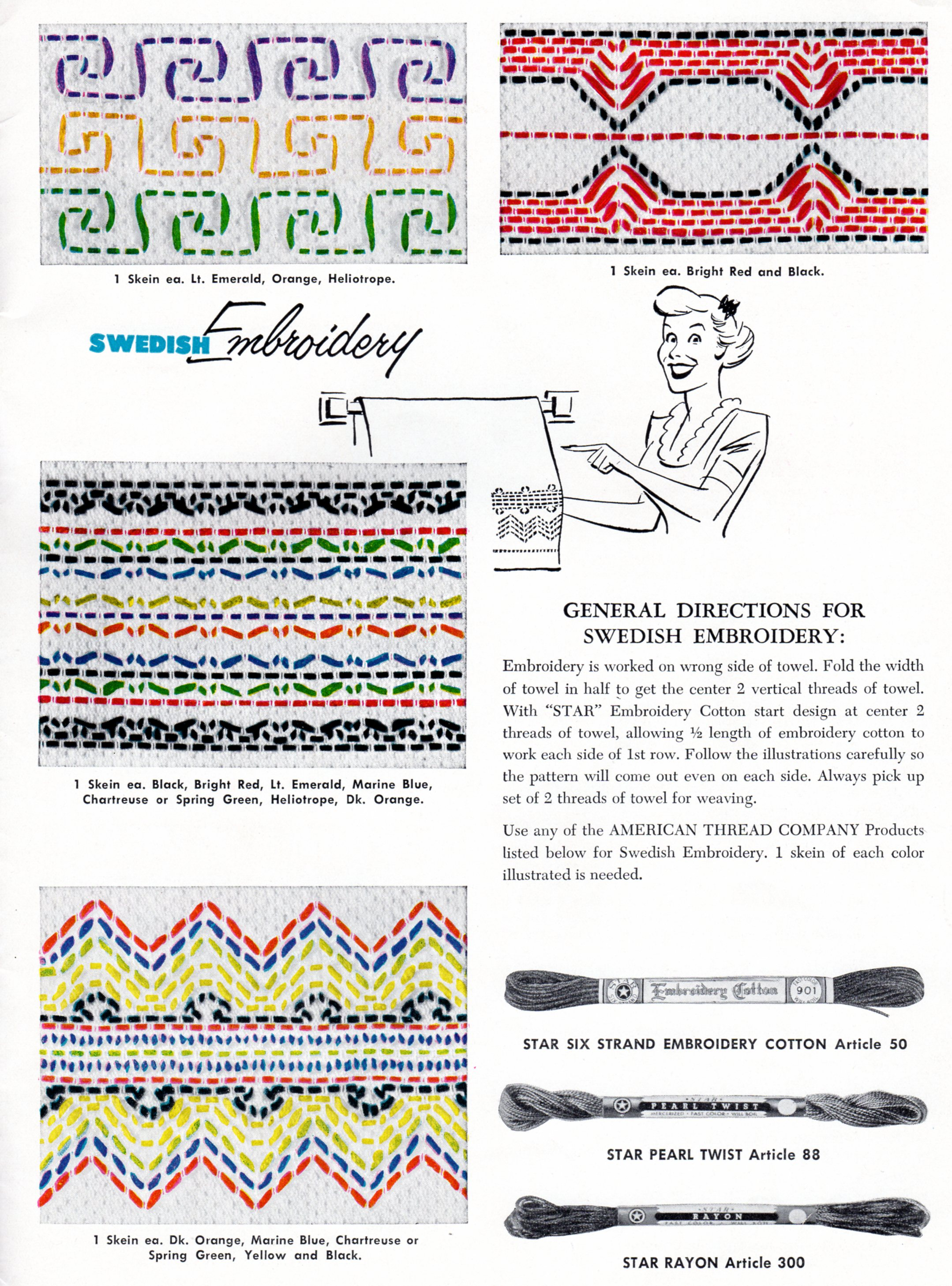 More swedish huck weaving embroidery patterns vintage
