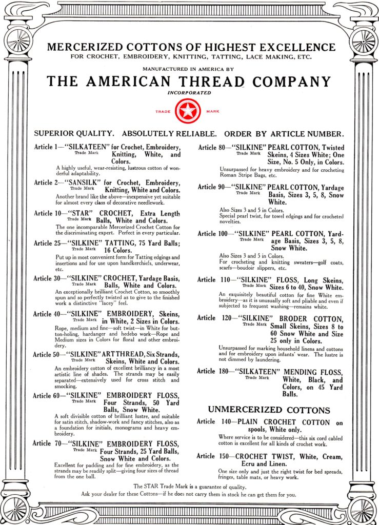 American Thread Company Mercerized Cottons Page for Vintage Crochet Patterns