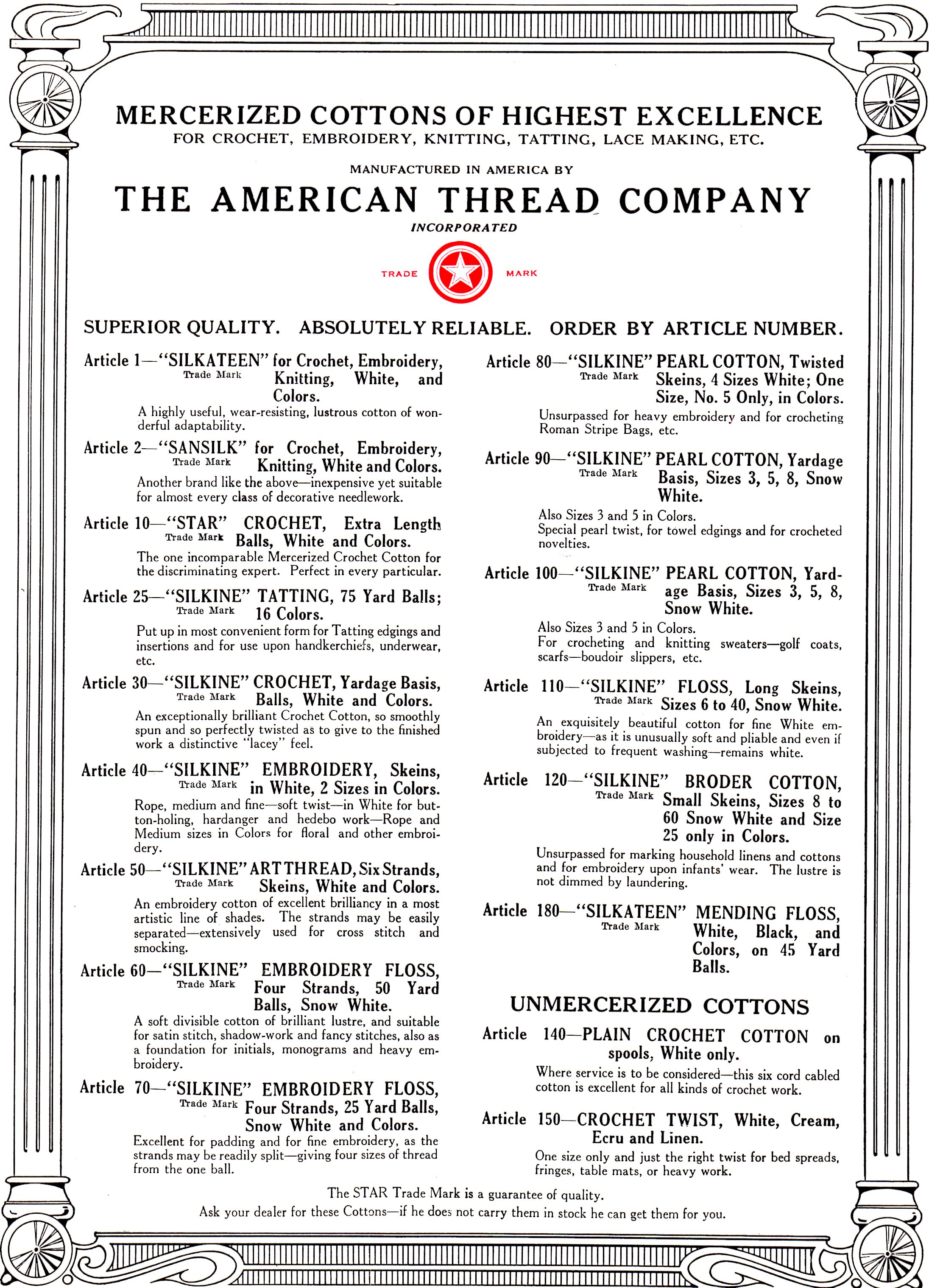 How to read vintage crochet patterns and discontinued yarns american thread company mercerized cottons page for vintage crochet patterns bankloansurffo Images
