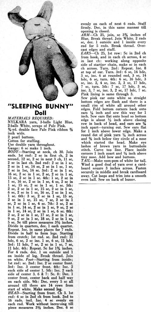 Crochet Sleeping Bunny Doll Pattern Instructions