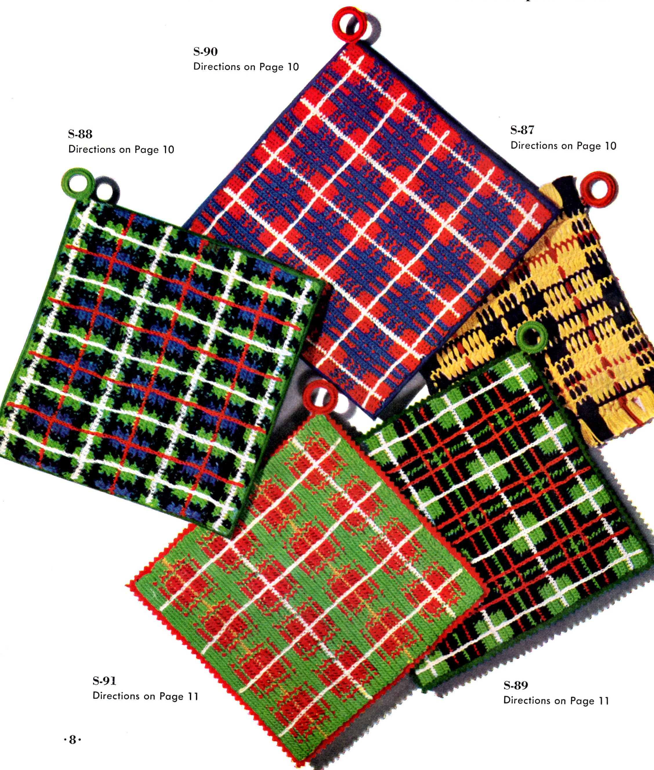 Crochet Patterns Tartan Plaid Placemats and Potholders - Vintage ...