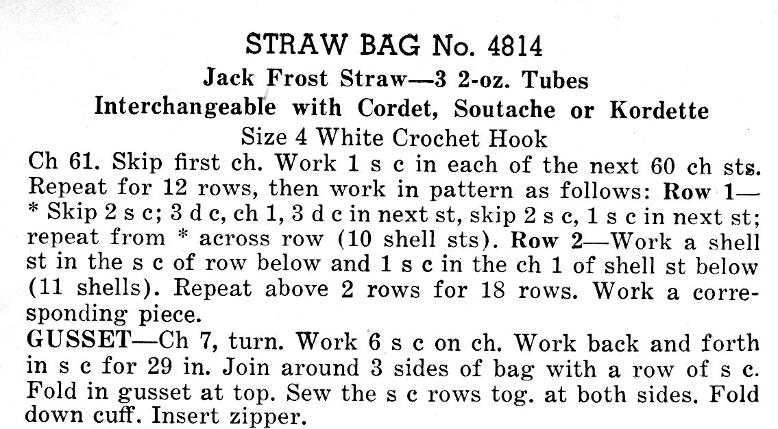1940s Straw Handbag Crochet Pattern - Vintage Crafts and More