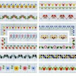 Cross Stitch Flower Border Pattern Charts