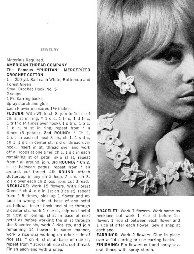 Buttercup Crochet Flower Pattern for Jewelry Instrucitons - Vintage Crafts and More