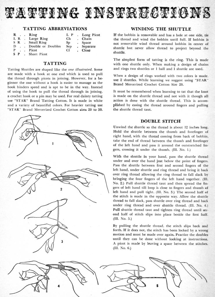 Tatting Instructions Page 1 - Vintage Crafts and More