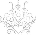 Embroidery and Applique Design with Flowers and Hearts
