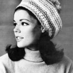 Vintage Striped Beret Slouchy Beanie Hat Crochet Pattern