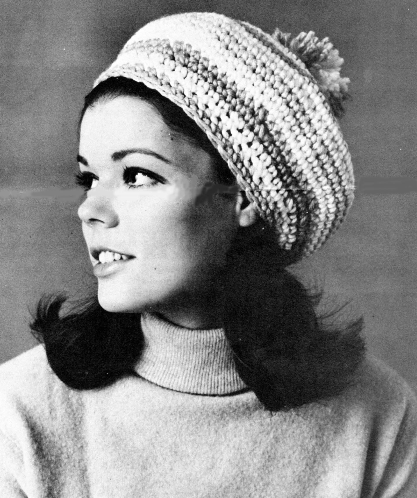 Vintage Striped Beret Slouchy Beanie Hat Crochet Pattern - Vintage ...