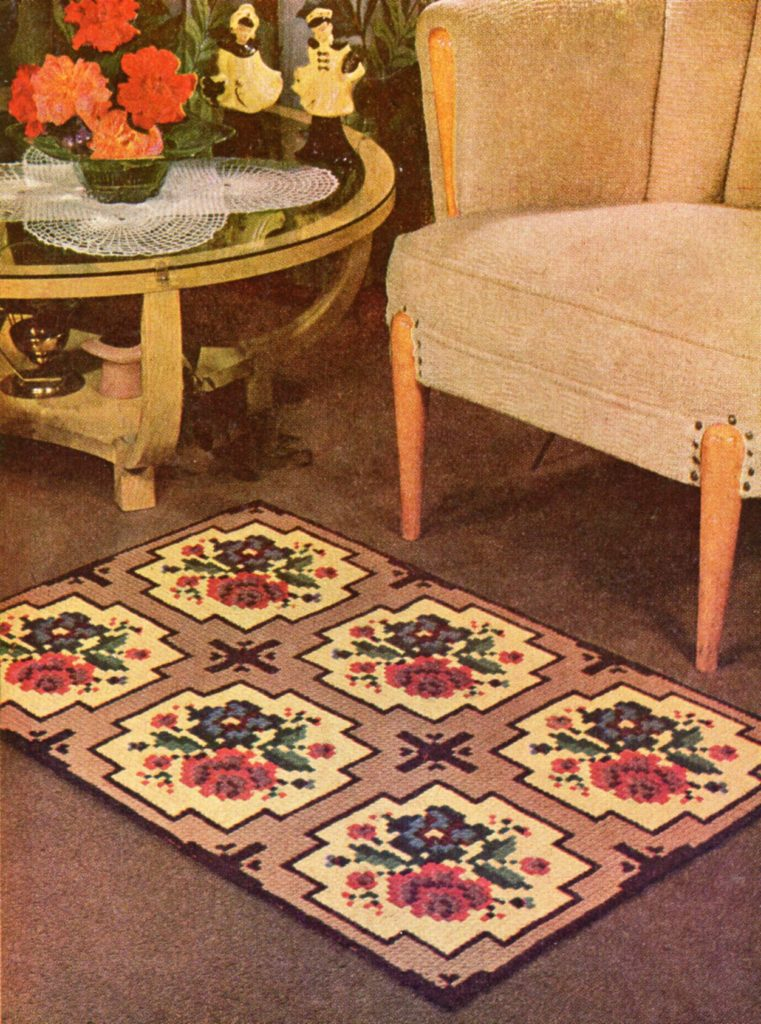 Cross Stitch Needlepoint Rose Design Area Rug Vintage