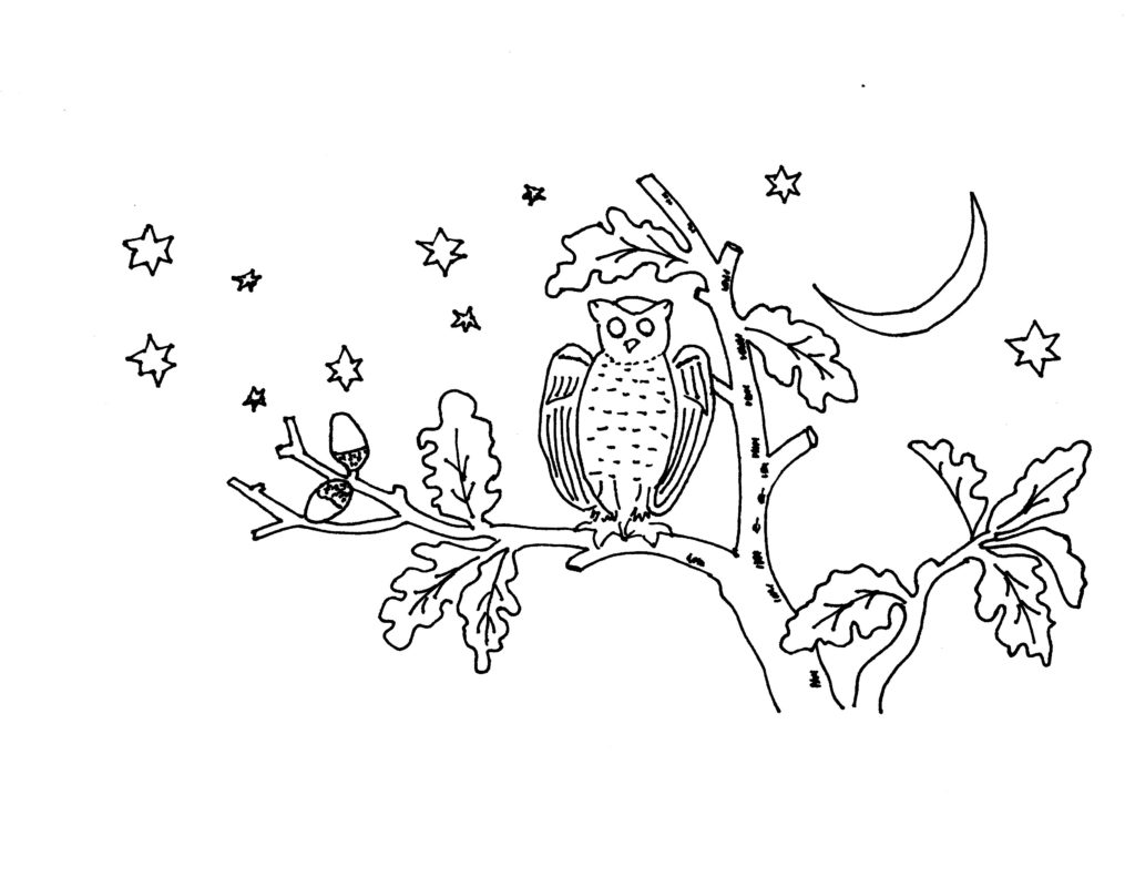 Owl Embroidery Pattern My Drawing - Vintage Crafts and More