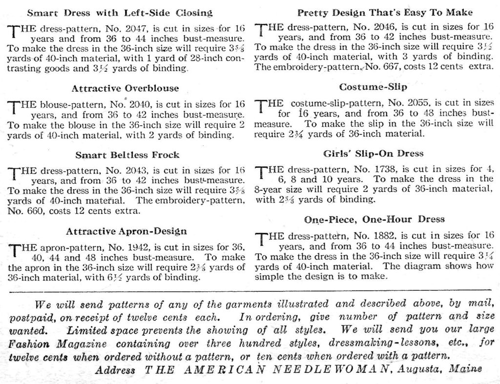 The American Needlewoman Magazine Pattern Page Descriptions - Vintage Crafts and More
