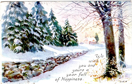 Happy New Year Postcard 2017 - Vintage Crafts and More