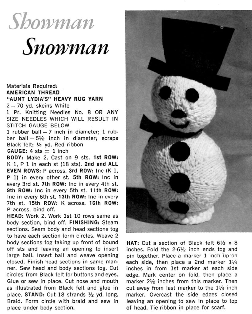Snowman Knitting Pattern Instructions - Vintage Crafts and More