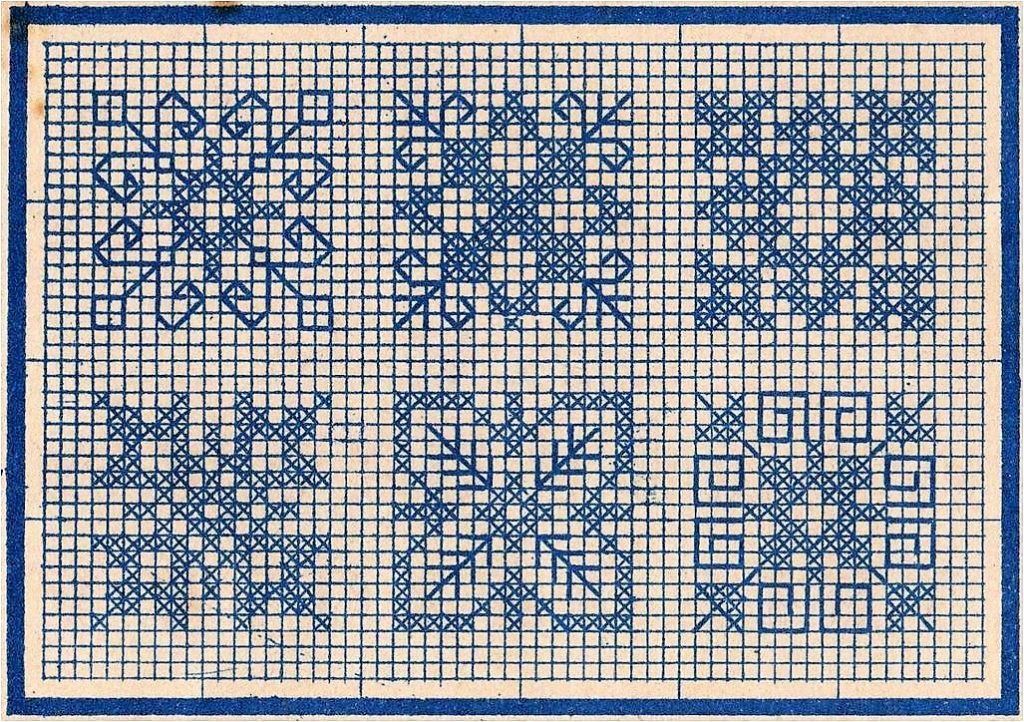 old time cross stitch snowflakes - vintage crafts and more