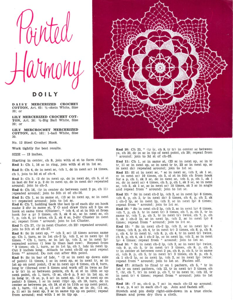 Pointed Harmony Doily Crochet Pattern - Vintage Crafts and More