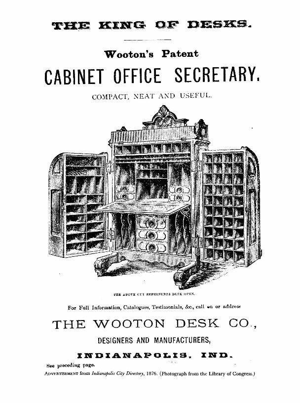 Wootens Patent Cabinet Office Secretary Desk
