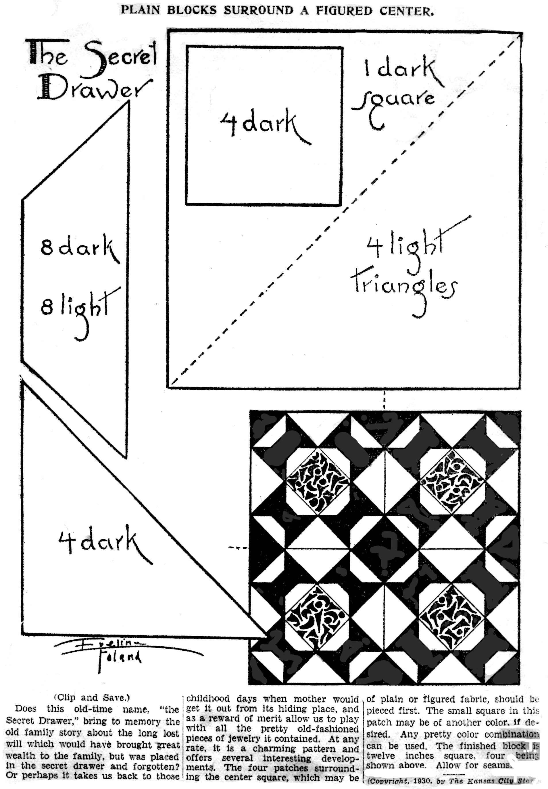 The Secret Drawer Eveline Foland Quilt Pattern
