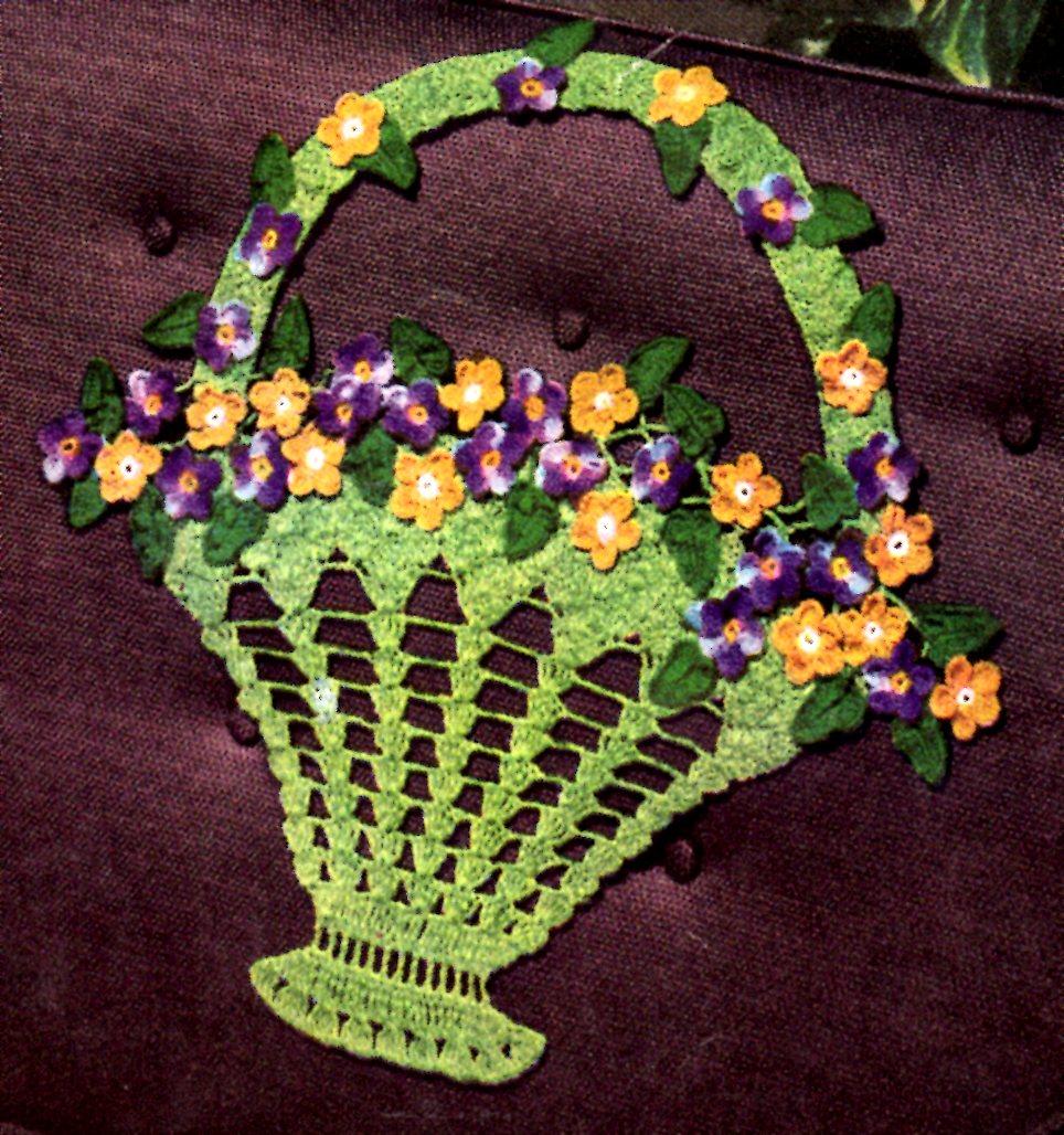 Free Crochet Flower Basket Pattern : Crochet flower basket pattern from smart chair sets coats