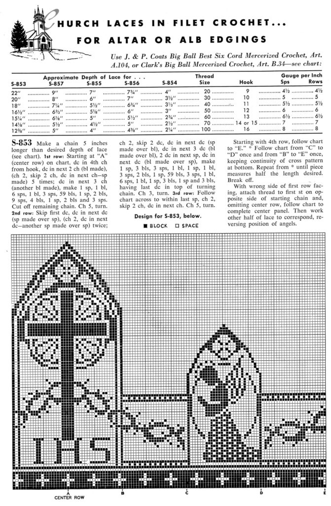Filet Crochet Edging Patterns for Altars and Robes - Vintage Crafts and More
