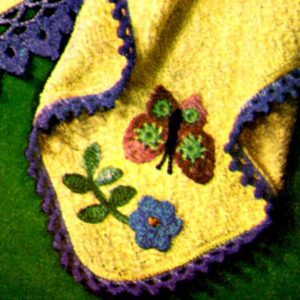crochet pattern butterfly and flower towel embellishment