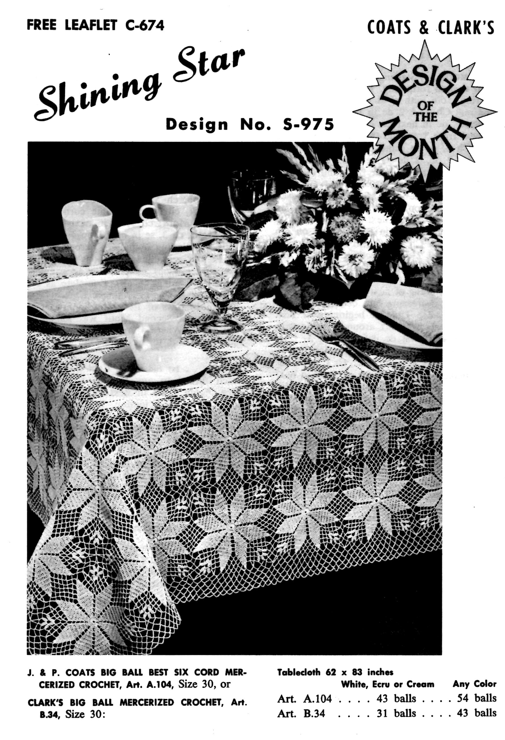 Crochet Pattern Shining Star Tablecloth Coats and Clark\'s Design of ...