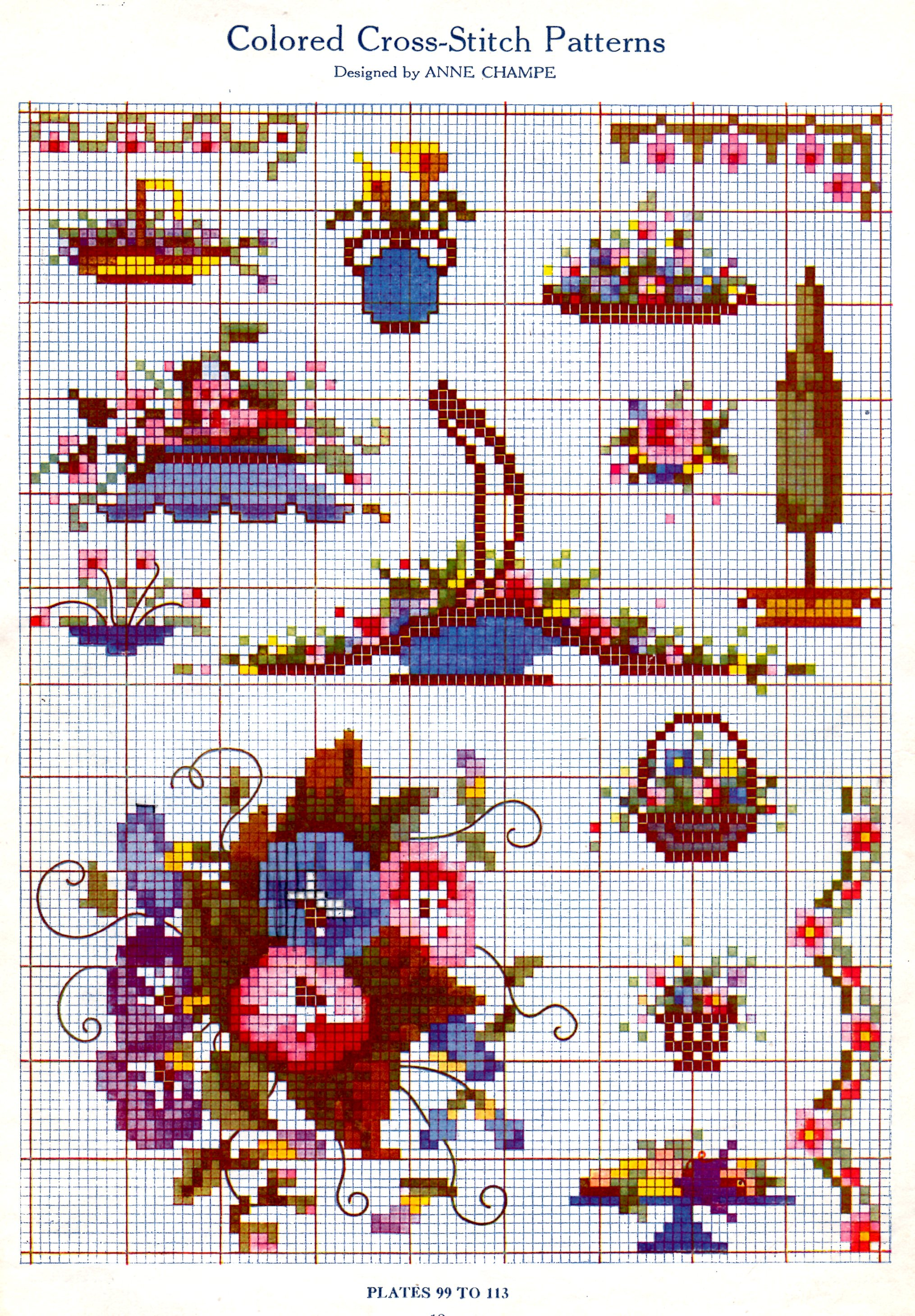 Color chart archives vintage crafts and more cross stitch chart in color geenschuldenfo Image collections