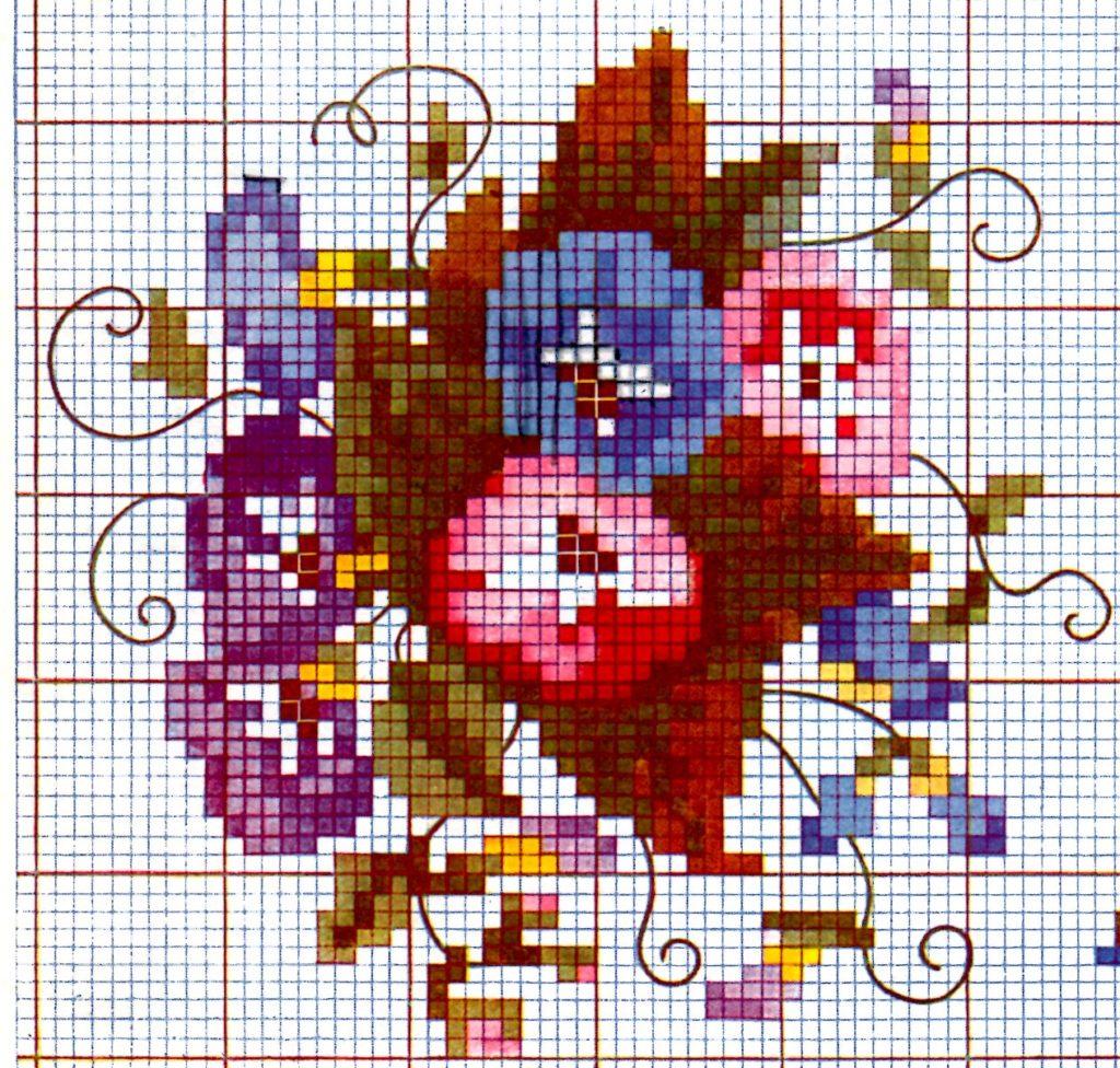 Pansy Colored Cross Stitch Chart