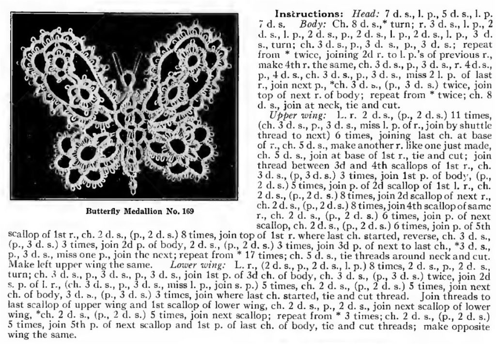 Corticelli Lessons in Tatting Butterfly Medallion