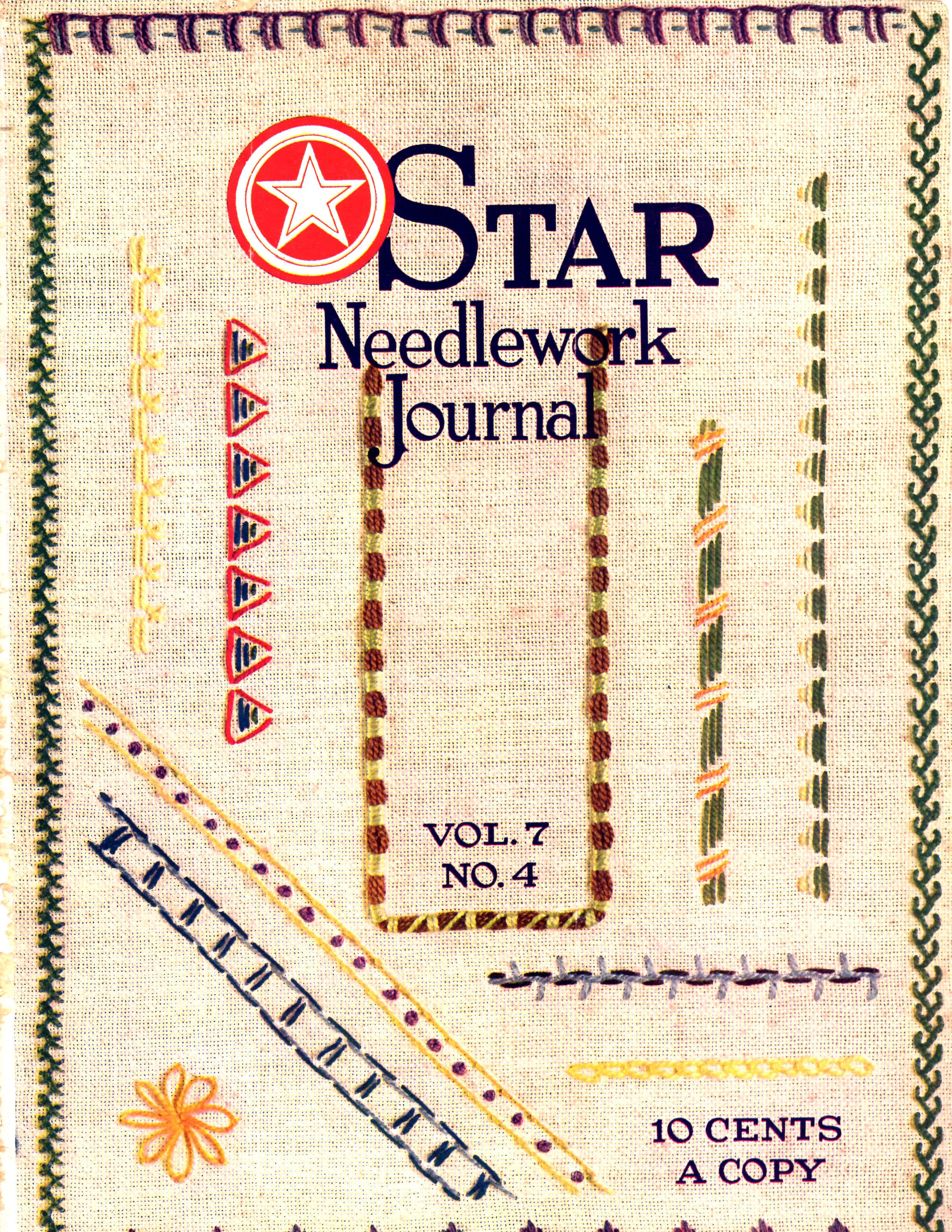 American thread company archives vintage crafts and more cross stitch patterns star needlework journal cover geenschuldenfo Gallery