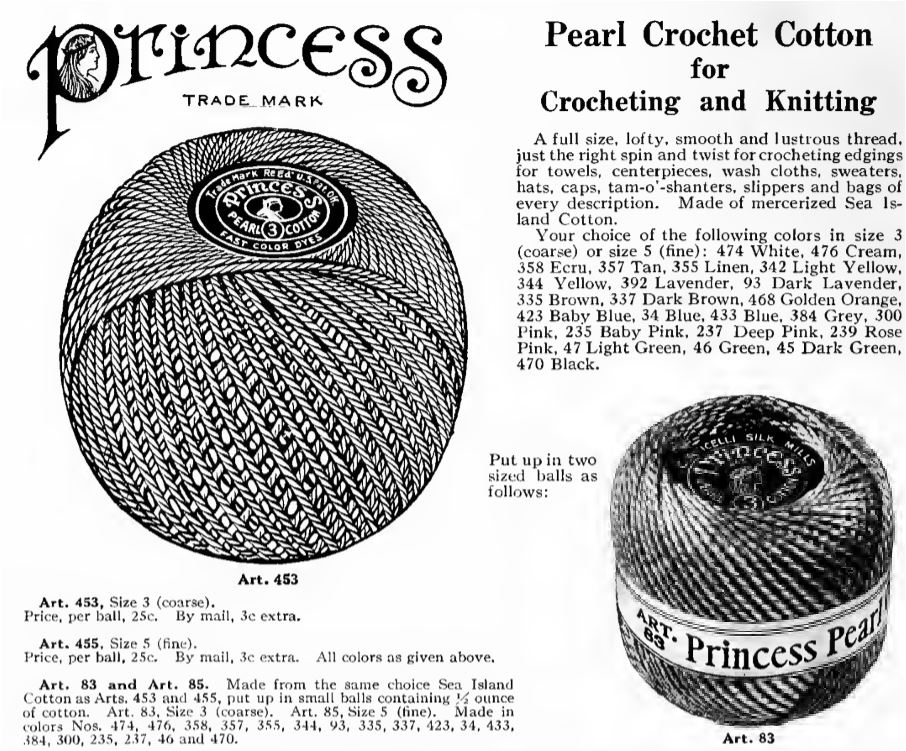 corticelli princess pearl crochet cotton