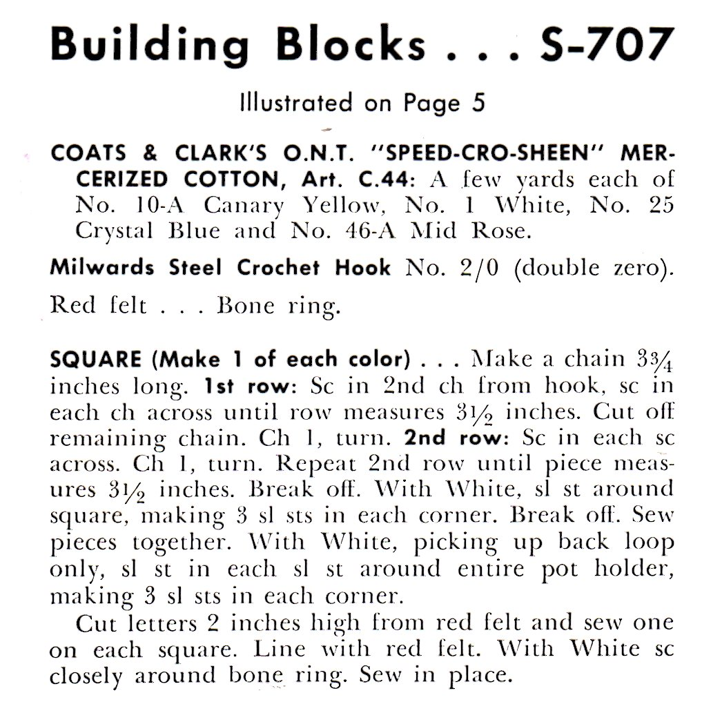 building block potholder instructions