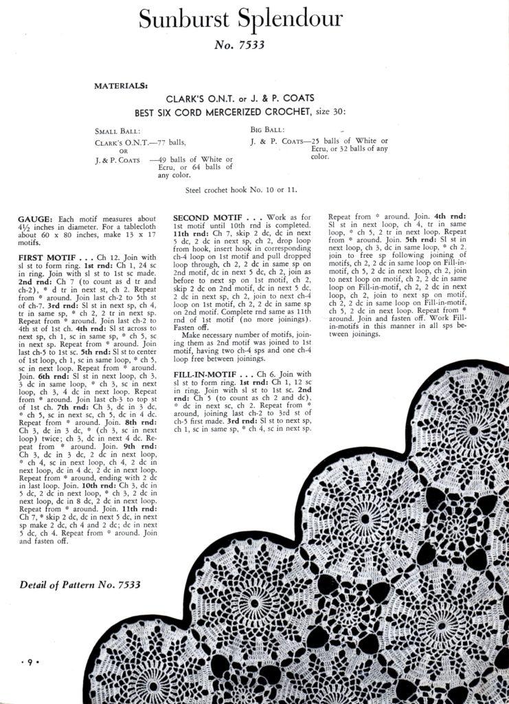 crochet tablecloth pattern sunburst splendour motif instructions
