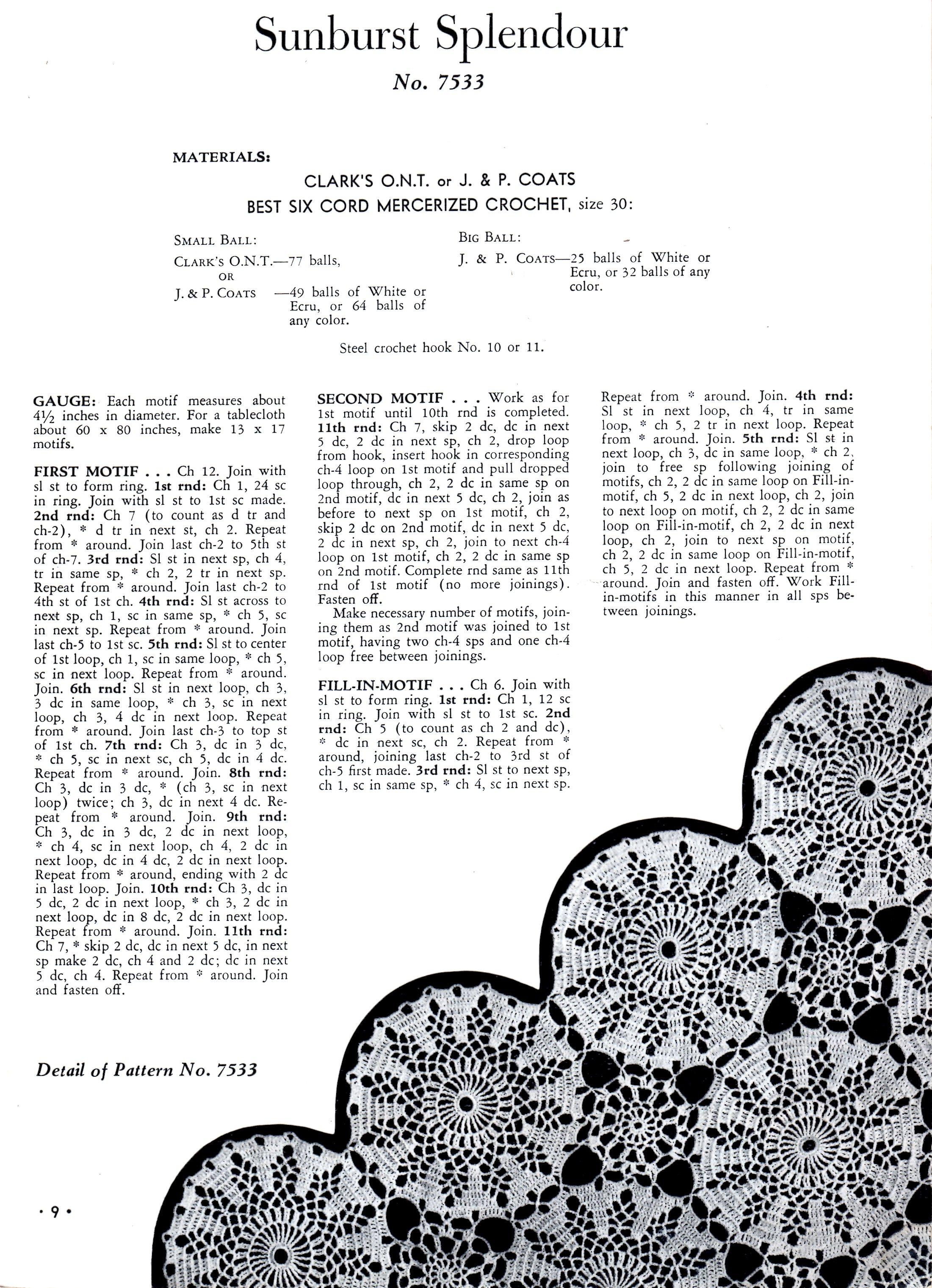 Crochet tablecloth pattern sunburst splendour lacy motifs crochet tablecloth pattern sunburst splendour motif instructions bankloansurffo Gallery