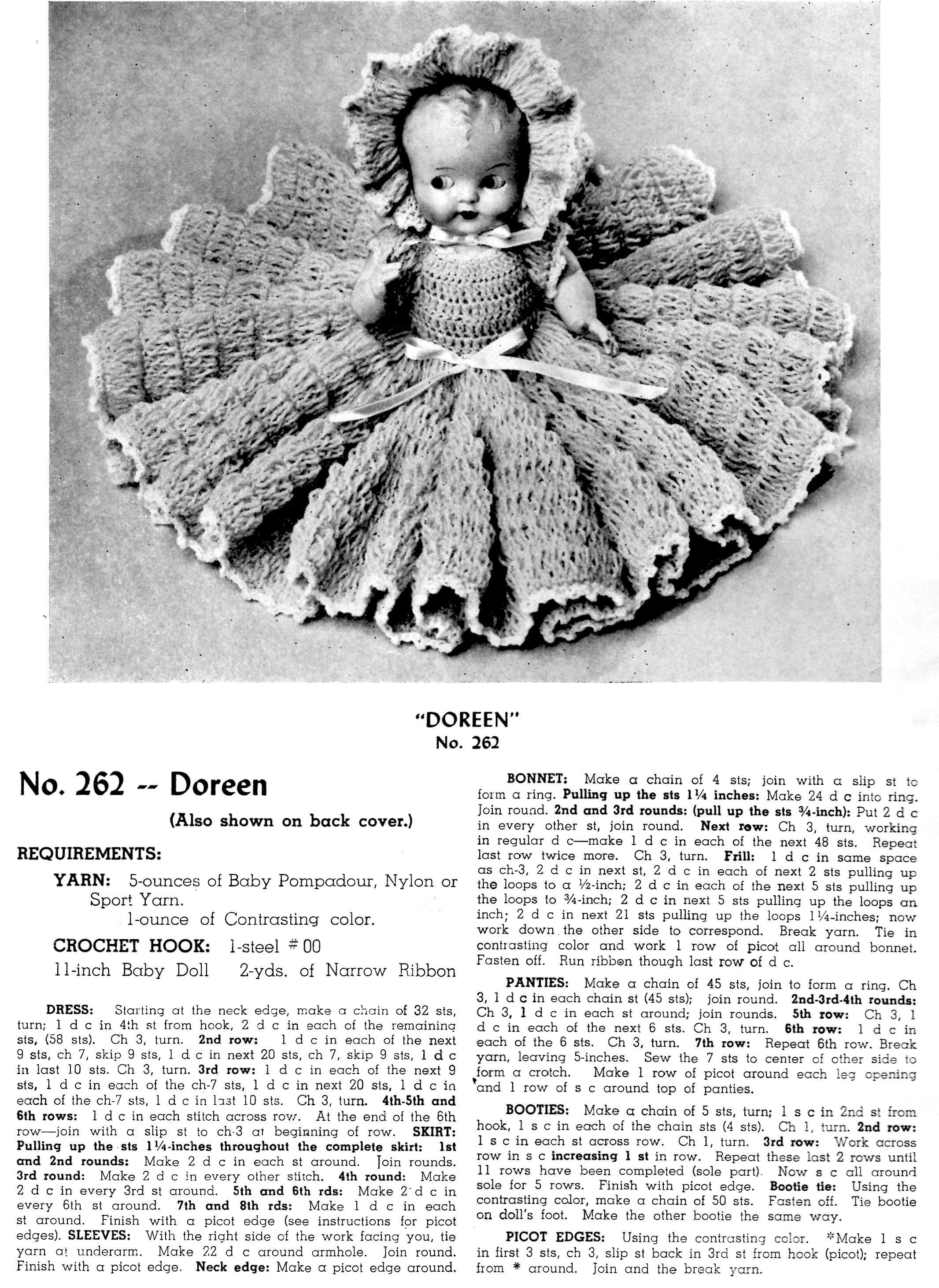 Crochet Doll's Bed Pattern, 11.5 inch Doll | ChicVintagePatterns | 2925x2132