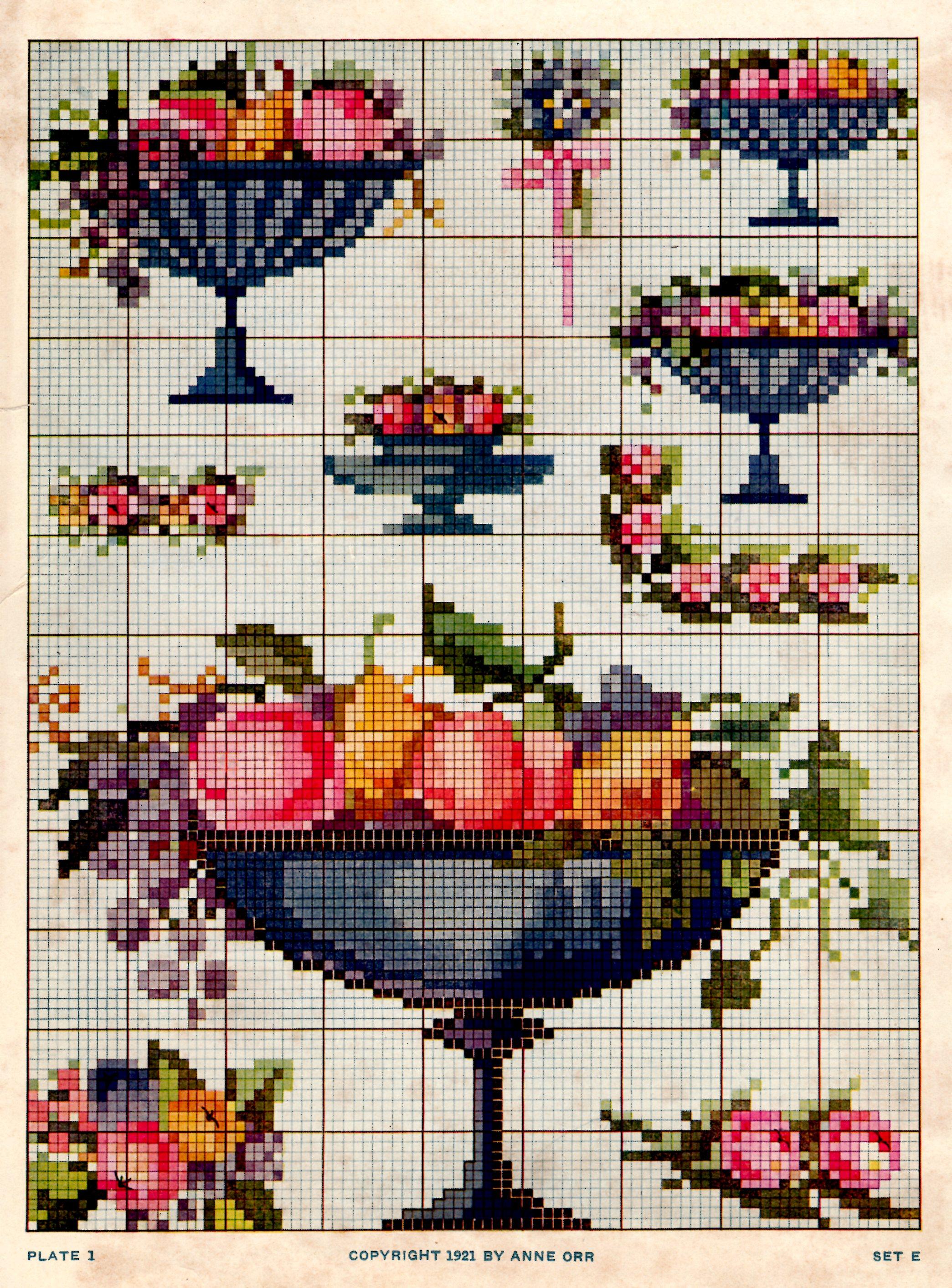 1921 Anne Orr Cross Stitch Fruit Bowl Design Chart Sheet Vintage