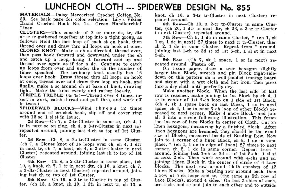 Spiderweb Design Cloth Crochet Pattern