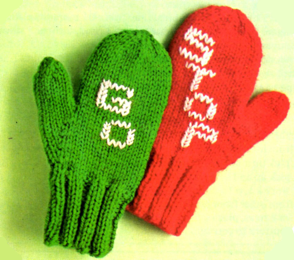 Stop and Go Mittens Knitting Pattern for Toddlers - Vintage Crafts ...