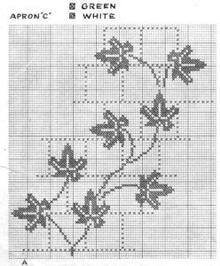 Chicken Scratch Cross Stitch Embroidered Gingham Aprons Leaf Patterns