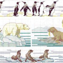 Arctic Animals in cross stitch