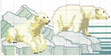 Arctic Animals in cross stitch Polar Bears