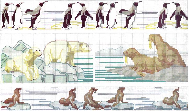 Arctic Animals in cross stitch