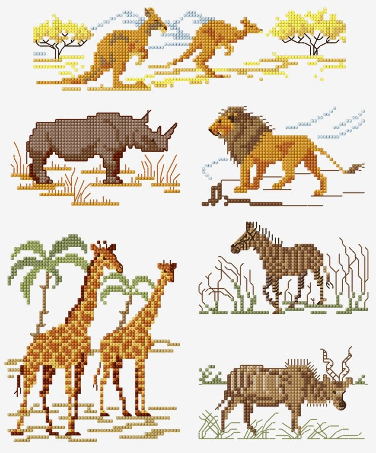 DMC Free Jungle Animal Cross Stitch Chart