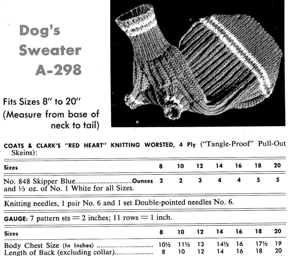 Dogs sweater knitting instructions Sizes