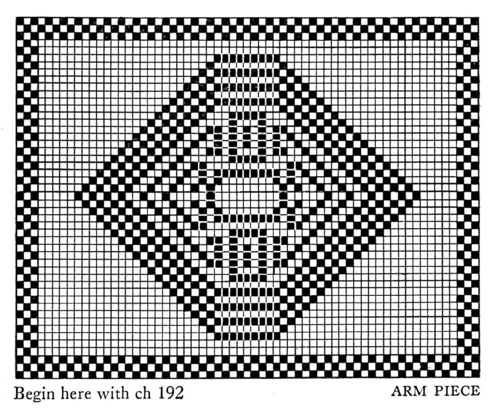 Filet Crochet Pattern Free Vintage Stained Glass Chair Back and Arm ...