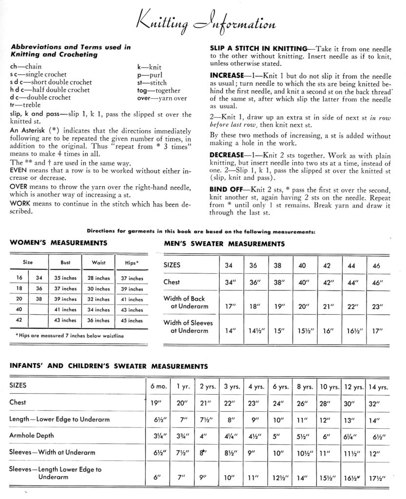 Knitting Instructions and Measurements