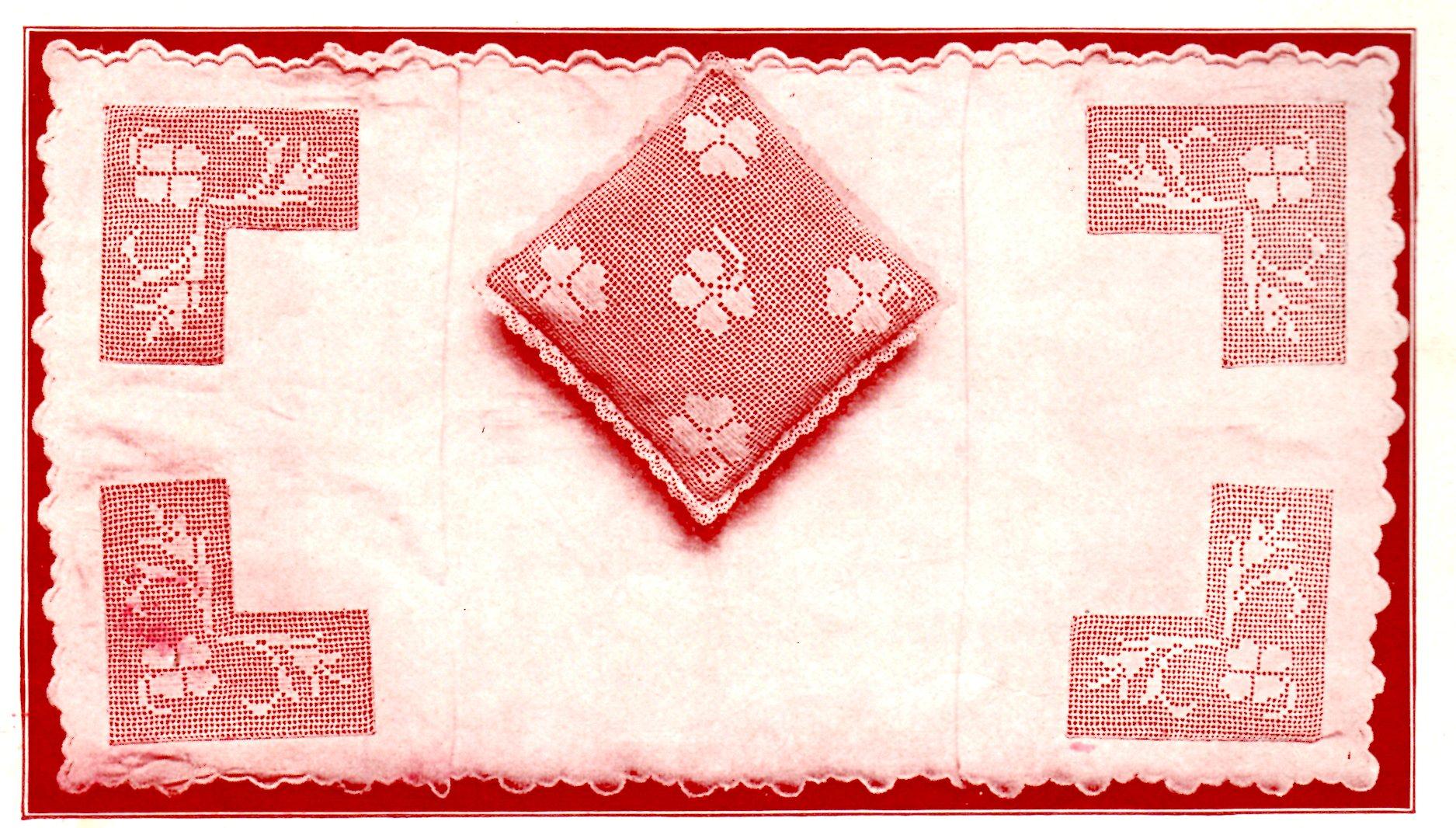 Dresser Scarf And Pillow Filet Crochet Clover Leaf Set